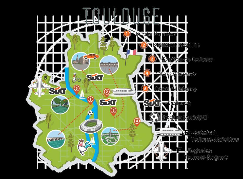Toulouse Karte.Em 2016 In Toulouse Reisetipps Für Frankreich Sixt